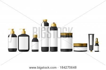 Realistic black cosmetic cream container and tube for cream, ointment, toothpaste, lotion Mock up bottle. Gel, powder, balsam, with empty label. Soap pump. Containers for bulk mixtures.