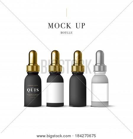 Set of realistic black essential oil bottle. Mock up bottle. Cosmetic vial, flask, flacon. Container for perfume. Medical bank. Cosmetic dropper-bottle for serum. Prescription bottle with design label