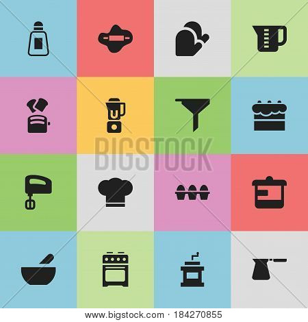 Set Of 16 Editable Cook Icons. Includes Symbols Such As Kitchen Glove, Egg Carton, Mensural And More. Can Be Used For Web, Mobile, UI And Infographic Design.