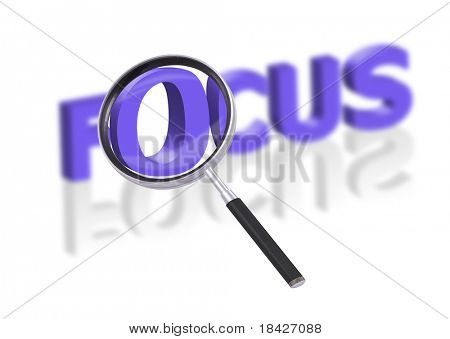 magnifying glass enlarging part of 3D word focus in blue with reflections blurred