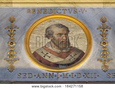 ROME, ITALY - SEPTEMBER 05: The icon on the dome with the image of Pope Benedict V was Pope from 22 May to 23 June 964 in the basilica of Saint Paul Outside the Walls, Rome on September 05, 2016.