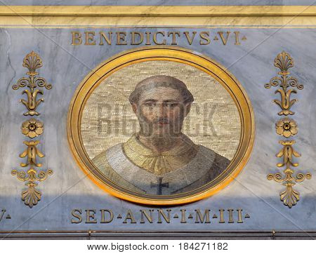 ROME, ITALY - SEPTEMBER 05: Pope Benedict VI was Pope from 19 January 973 to his death in 974 in the basilica of Saint Paul Outside the Walls, Rome, Italy on September 05, 2016.