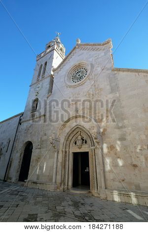 KORCULA, CROATIA - NOVEMBER 09: St Mark s Cathedral in the historic city Korcula at the island Korcula in Croatia on November 09, 2016.