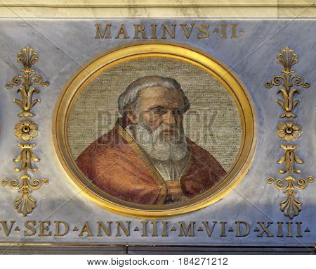 ROME, ITALY - SEPTEMBER 05: Pope Marinus II, was Pope from 30 October 942 to his death in 946. in the basilica of Saint Paul Outside the Walls, Rome, Italy on September 05, 2016.