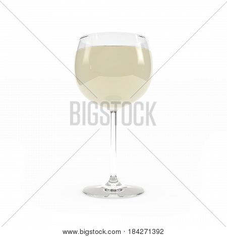 Wineglass With White Wine 3D Rendering