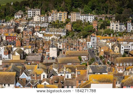 Looking across the old town of Hastings in Sussex