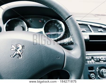WROCLAW POLAND- APRIL 27th 2017: Interior of peugeot 3008. The Peugeot 3008 is a compact crossover unveiled by French automaker Peugeot in May 2008 and presented for the first time to the public in Dubrovnik Croatia.