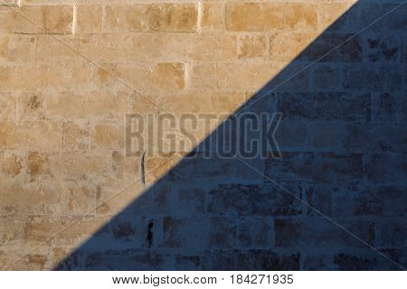 whitewash brick wall horizontal flat background with diagonal shadow