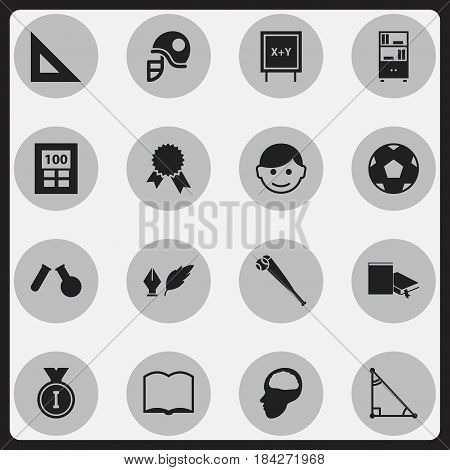 Set Of 16 Editable University Icons. Includes Symbols Such As Triangle, Bookcase, Cerebrum And More. Can Be Used For Web, Mobile, UI And Infographic Design.