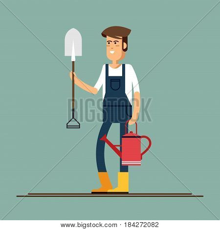 Vector flat illustration of gardener character. Young man holding shovel and watering can. Hobby of the elderly people