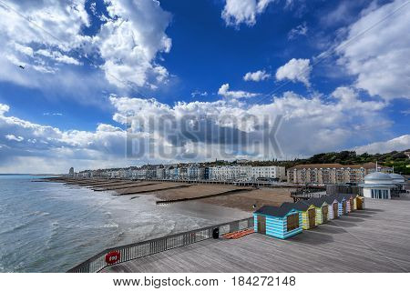 Hastings beach and pier in the county of Sussex England