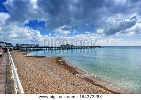 Hastings beach as viewed from the new pier in the county of Sussex