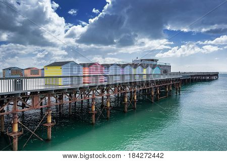 Hastings pier in Sussex on the south coast of England