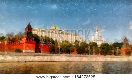 Moscow Sights, View From The Moskva River, Watercolor Drawing, Illustration