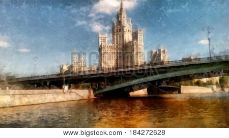 Skyscraper On The Waterfront Promenade. Moscow Sights, View From The Moskva River, Watercolor Drawin