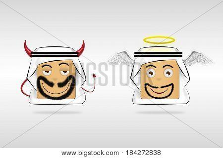 angel and demon Arab Man Cartoon Emotion Face.