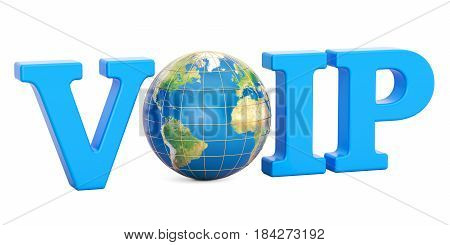 VoIP concept with Earth globe 3D rendering isolated on white background