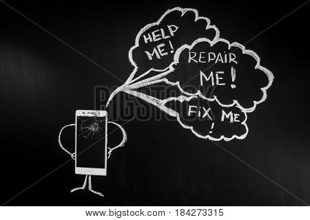 Broken glass of smartphone as a person on the black background with billboard with text