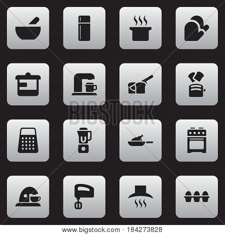 Set Of 16 Editable Cooking Icons. Includes Symbols Such As Shredder, Soup Pot, Kitchen Glove And More. Can Be Used For Web, Mobile, UI And Infographic Design.