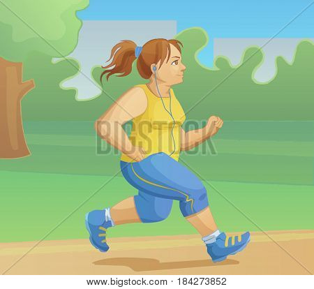 Overweight girl is jogging. Morning scamper in the park. Cartoon vector illustration