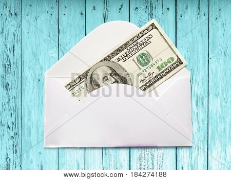 Envelope With One Hundred Dollar Banknote