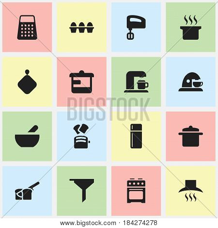 Set Of 16 Editable Meal Icons. Includes Symbols Such As Soup, Agitator, Shredder And More. Can Be Used For Web, Mobile, UI And Infographic Design.