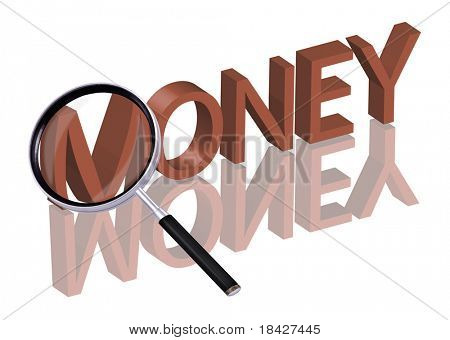 money search money button money icon Magnifying glass enlarging part of red 3D word with reflection