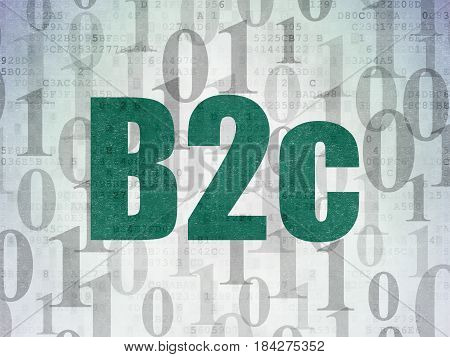 Finance concept: Painted green text B2c on Digital Data Paper background with   Binary Code
