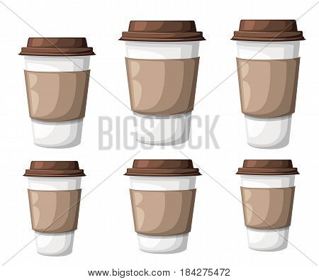 Paper Coffee Cup Icon Isolated On Background. Plastic Coffee Cup With Hot Coffee In Flat Style Vecto