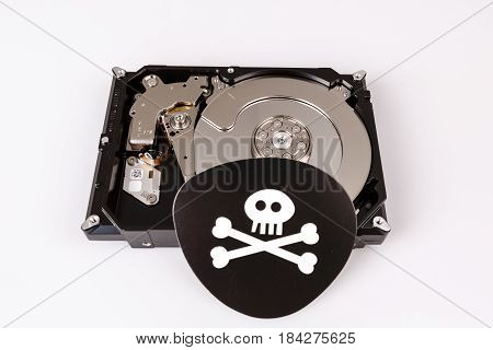 Skull With Bones And Hard Drive From Computer, Cyber Security Concept