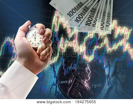 Candlestick Chart, Coin, Euros And Stopwatch In Male Hand