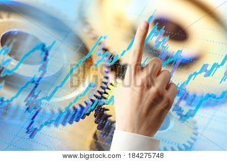 Candlestick Chart, Ratchets And Hand