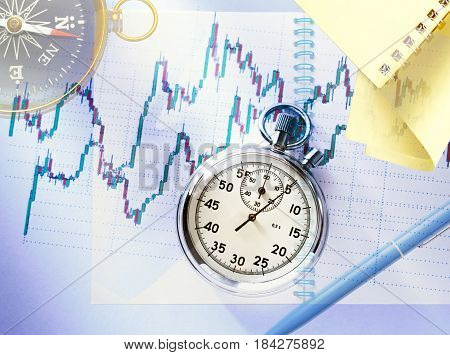 Candlestick Graph Chart And Stopwatch