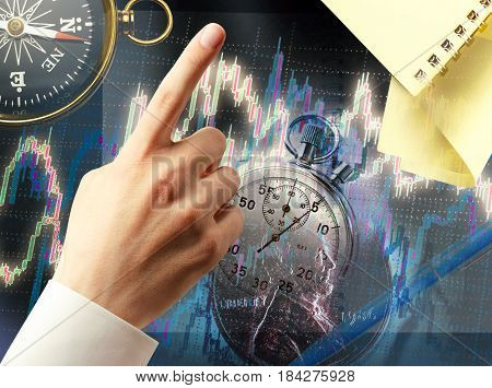 Candlestick Chart Graphic And Black Compass