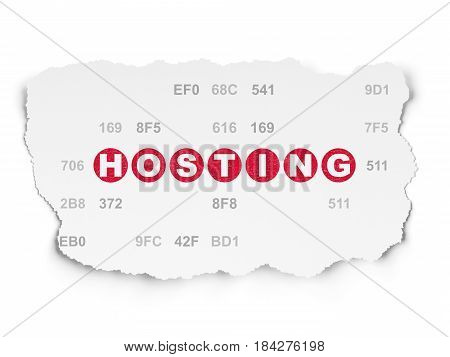 Web design concept: Painted red text Hosting on Torn Paper background with  Hexadecimal Code