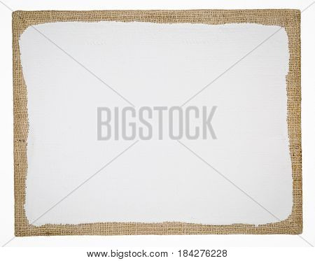 primed and stretched burlap art canvas isolated on white