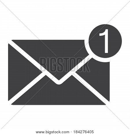 New message solid icon, email and website button, vector graphics, a filled pattern on a white background, eps 10.