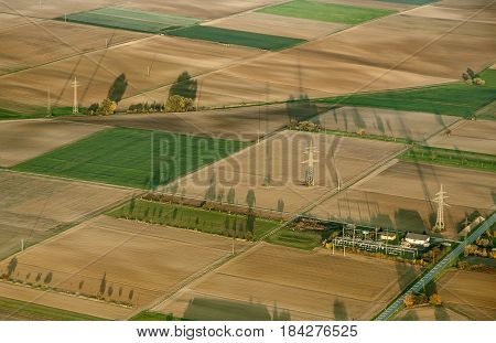 Rural Landscape With Acre From Hot Air Balloon