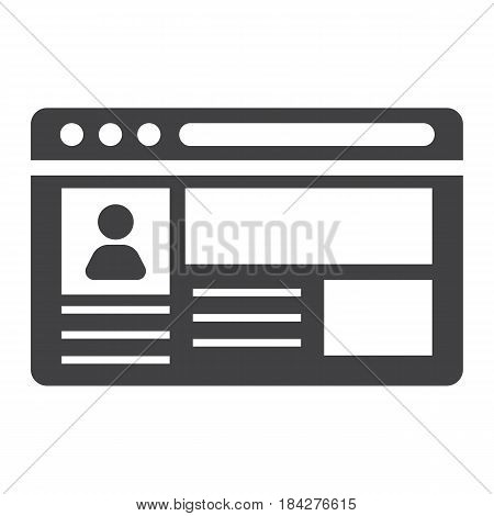 Account solid icon, social media and website button, vector graphics, a filled pattern on a white background, eps 10.