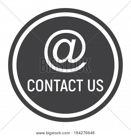 Email address solid icon, contact us and website button, vector graphics, a filled pattern on a white background, eps 10.