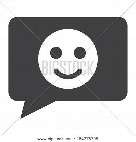 Comment with smile solid icon, feedback and website button, vector graphics, a filled pattern on a white background, eps 10.