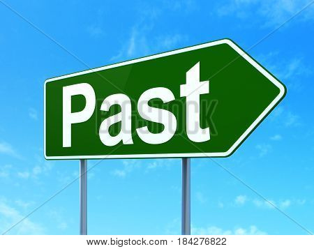 Time concept: Past on green road highway sign, clear blue sky background, 3D rendering
