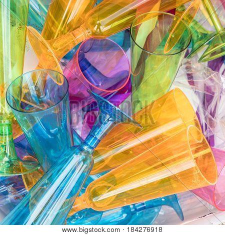 Plastic Sparkling Wine Glasses In A Litterbox