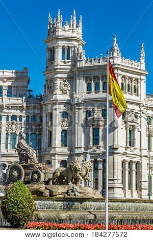 Plaza de la Cibeles (Cybele's Square) - Central Post Office (Palacio de Comunicaciones) Madrid Spain.