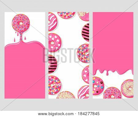 A set of three posters of donuts: pink donut dripping with glaze, donuts with different toppings, and icing flowing down on the donuts