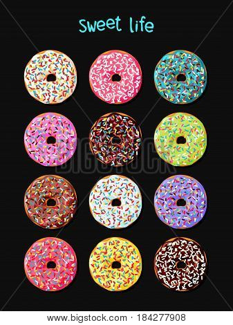 Set of donuts with multicolored  glaze and various toppings on black background. Donut poster. Donut icon. Vector illustration