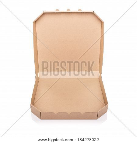 Cardboard box isolated on a white background. Box for pizza.