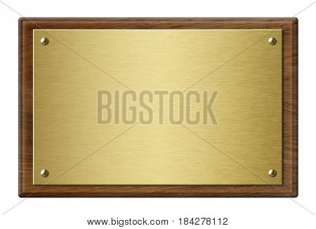 Wood frame with gold metal plaque 3d illustration