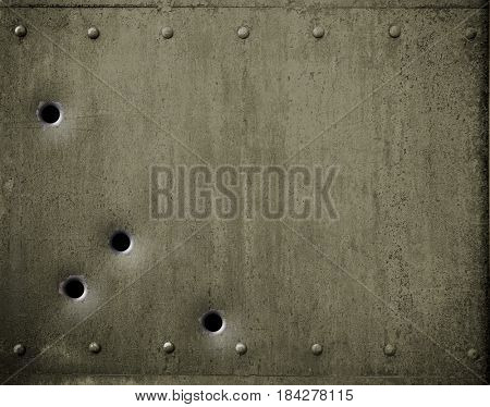 green metal plate with bullet holes 3d illustration