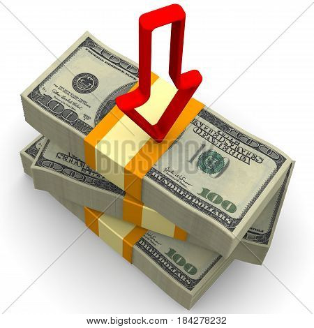 Decrease in income. Packs of US dollars tied with a tapes on a white surface with a red arrow pointing downwards. Isolated. 3D Illustration